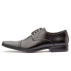 Sapato Social Masculino De Amarrar Em Couro Legítimo Preto - D&R SHOES