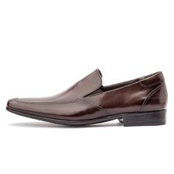 Sapato Social Masculino Calce Fácil Em Couro Legítimo Café - D&R SHOES