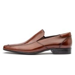 Sapato Social Masculino Calce Fácil Em Couro Legítimo Whisky - D&R SHOES
