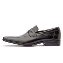 Sapato Social Masculino Fechado Em Couro Legítimo Preto - D&R SHOES
