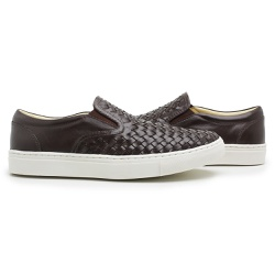 Tênis Slip On trisse Masculino Couro cafe - D&R SHOES