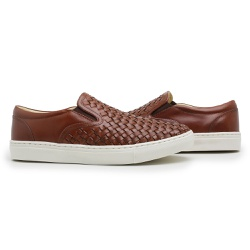Tênis Slip On trisse Masculino Couro whisky - D&R SHOES
