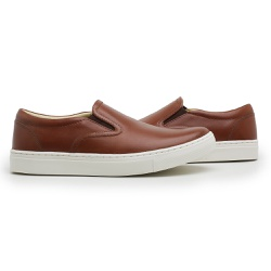 Tênis Slip On Masculino Couro whisky - D&R SHOES