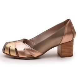 Sapato Feminino Retrô Bahamas Em Couro Legítimo Prata Velho/Bronze/Ouro - D&R SHOES