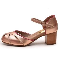 Sapato Feminino Retrô Bahamas Em Couro Legítimo Bronze/Pink - D&R SHOES