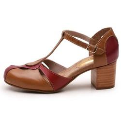 Sapato Feminino Retrô Bahamas Em Couro Legítimo Chilli/Whisky/Rubi - D&R SHOES