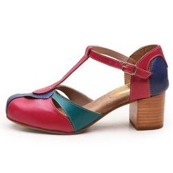 Sapato Feminino Retrô Bahamas Em Couro Legítimo Ro... - D&R SHOES