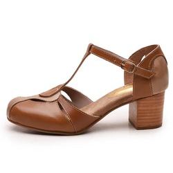 Sapato Feminino Retrô Bahamas Em Couro Legítimo Ta... - D&R SHOES