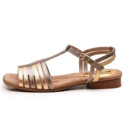 Sandália Feminina Flat Bora Em Couro Legitimo Ouro/Bronze/Prata Velho - D&R SHOES