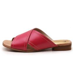 Sandália Feminina Flat Bora Em Couro Legitimo Pink... - D&R SHOES