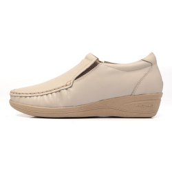 Sapato Anabela Feminino Conforto Couro Legitimo Mager Marfim - D&R SHOES