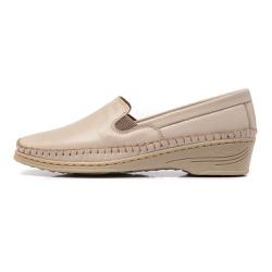 Sapato Feminino Anabela em Couro Legitimo Marfim - D&R SHOES