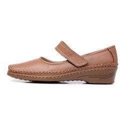 Sapato Feminino Anabela em Couro Legitimo Whisky - D&R SHOES