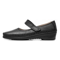 Sapato Feminino Anabela em Couro Legitimo Preto - D&R SHOES
