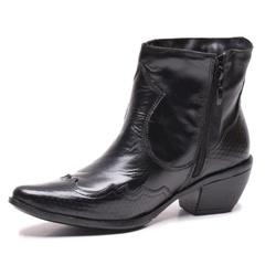 Bota Feminina Texana Cano Curto em Couro Preto - D&R SHOES