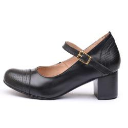 Sapato Feminino Retrô Mirihi Em Couro Legítimo Preto Furado - D&R SHOES