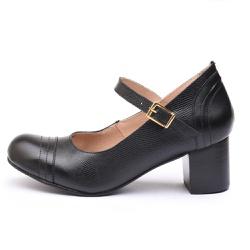 Sapato Feminino Retrô Mirihi Em Couro Legítimo Preto Lesar - D&R SHOES