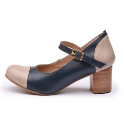 Sapato Feminino Retrô Mirihi Em Couro Legítimo Taupe Cobra/Marinho - D&R SHOES