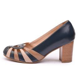 Sapato Feminino Retrô Em Couro Legítimo Marinho/Taupe Cobra/Chocolate Cobra - D&R SHOES
