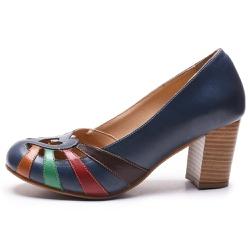 Sapato Feminino Retrô Em Couro Legítimo Marinho/ Whisky/Verde/Chilli/Café - D&R SHOES