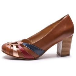 Sapato Feminino Retrô Em Couro Legítimo Chocolate/Whisky/Cobre/Chilli/Marinho - D&R SHOES