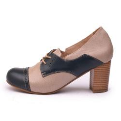 Sapato Feminino Retrô Paris Em Couro Legítimo Marinho/Taupe Cobra - D&R SHOES