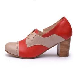 Sapato Feminino Retrô Paris Em Couro Legítimo Taupe Cobra/Vermelho - D&R SHOES