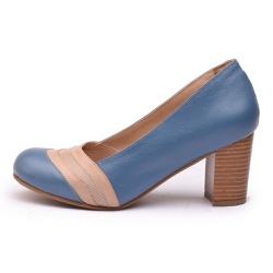 Sapato Feminino Retrô Lizard Em Couro Legítimo Azul Royal/Taupe - D&R SHOES