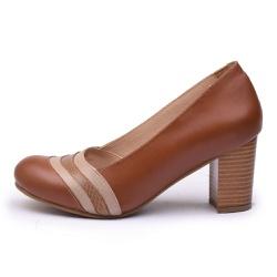 Sapato Feminino Retrô Lizard Em Couro Legítimo Chocolate/Taupe - D&R SHOES