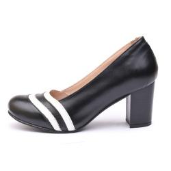 Sapato Feminino Retrô Lizard Em Couro Legítimo Preto/Branco - D&R SHOES