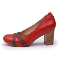 Sapato Feminino Retrô Lizard Em Couro Legítimo Vermelho/Marinho - D&R SHOES