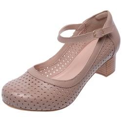 Sapato Feminino Estilo Boneca Em Couro MZ Taupe - D&R SHOES