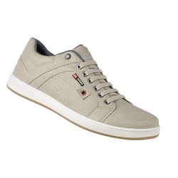 Sapatênis Masculino Couro Ecológico Bege - 1418 - D&R SHOES
