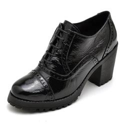 Sapato Feminino Oxford em Couro Legitimo Verniz Preto - D&R SHOES