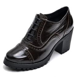 Sapato Feminino Oxford em Couro Legitimo Verniz Café - D&R SHOES