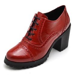 Sapato Feminino Oxford em Couro Legitimo Verniz Vermelho - D&R SHOES