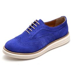 Sapato Oxford Feminino em Couro Camurça Azul - Q&A... - D&R SHOES
