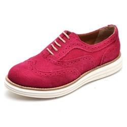 Sapato Oxford Feminino em Couro Camurça Fúcsia - Q... - D&R SHOES