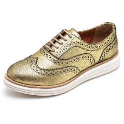 Sapato Oxford Feminino em Couro Camurça Ouro - Q&A... - D&R SHOES