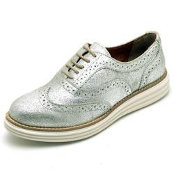 Sapato Oxford Feminino em Couro Camurça Prata - Q&... - D&R SHOES