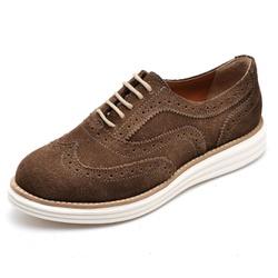 Sapato Oxford Feminino em Couro Camurça Marrom - Q... - D&R SHOES