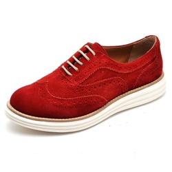 Sapato Oxford Feminino em Couro Camurça Vermelho -... - D&R SHOES