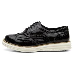 Sapato Oxford Feminino Em Couro Legítimo Verniz Pr... - D&R SHOES