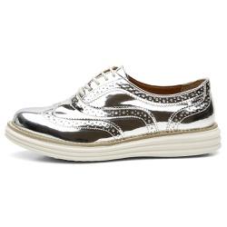 Sapato Oxford Feminino Em Couro Specchio Prata - Q... - D&R SHOES