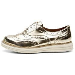 Sapato Oxford Feminino Em Couro Specchio Ouro Ligh... - D&R SHOES