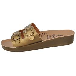 Sandália Conforto Dourada 2 Fivelas - D&R SHOES