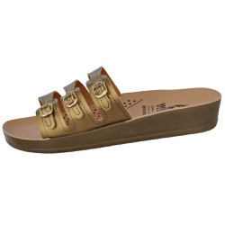 Sandália Conforto Dourada 3 Fivelas - D&R SHOES