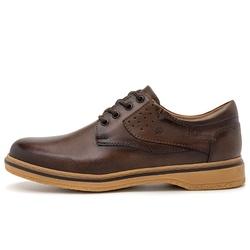 Sapato Casual Masculino New Malásia Em Couro Fumê Café - D&R SHOES