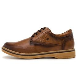 Sapato Casual Masculino New Malásia Em Couro Fumê Canela/Chocolate - D&R SHOES