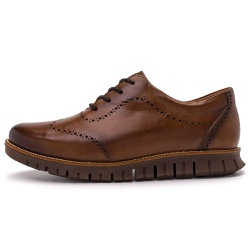 Sapato Casual Masculino Oregon Em Couro Comfort Fumê Canela - D&R SHOES